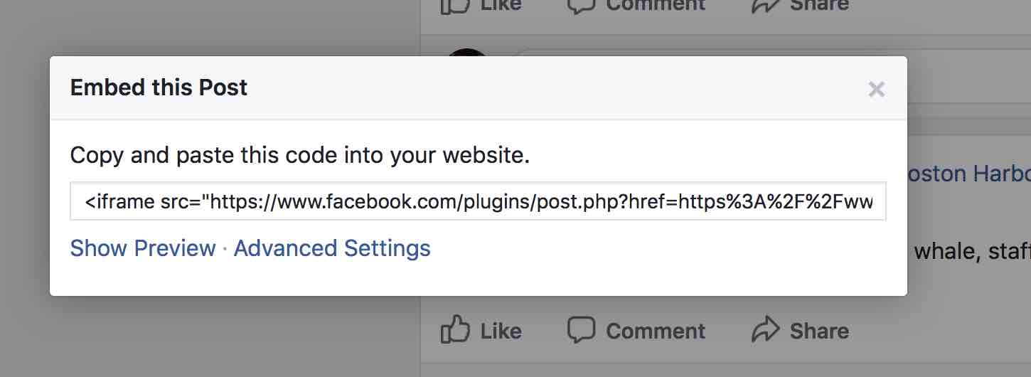 a script of code is showing inside an iframe where you can take the facebook post and embed it on your own website