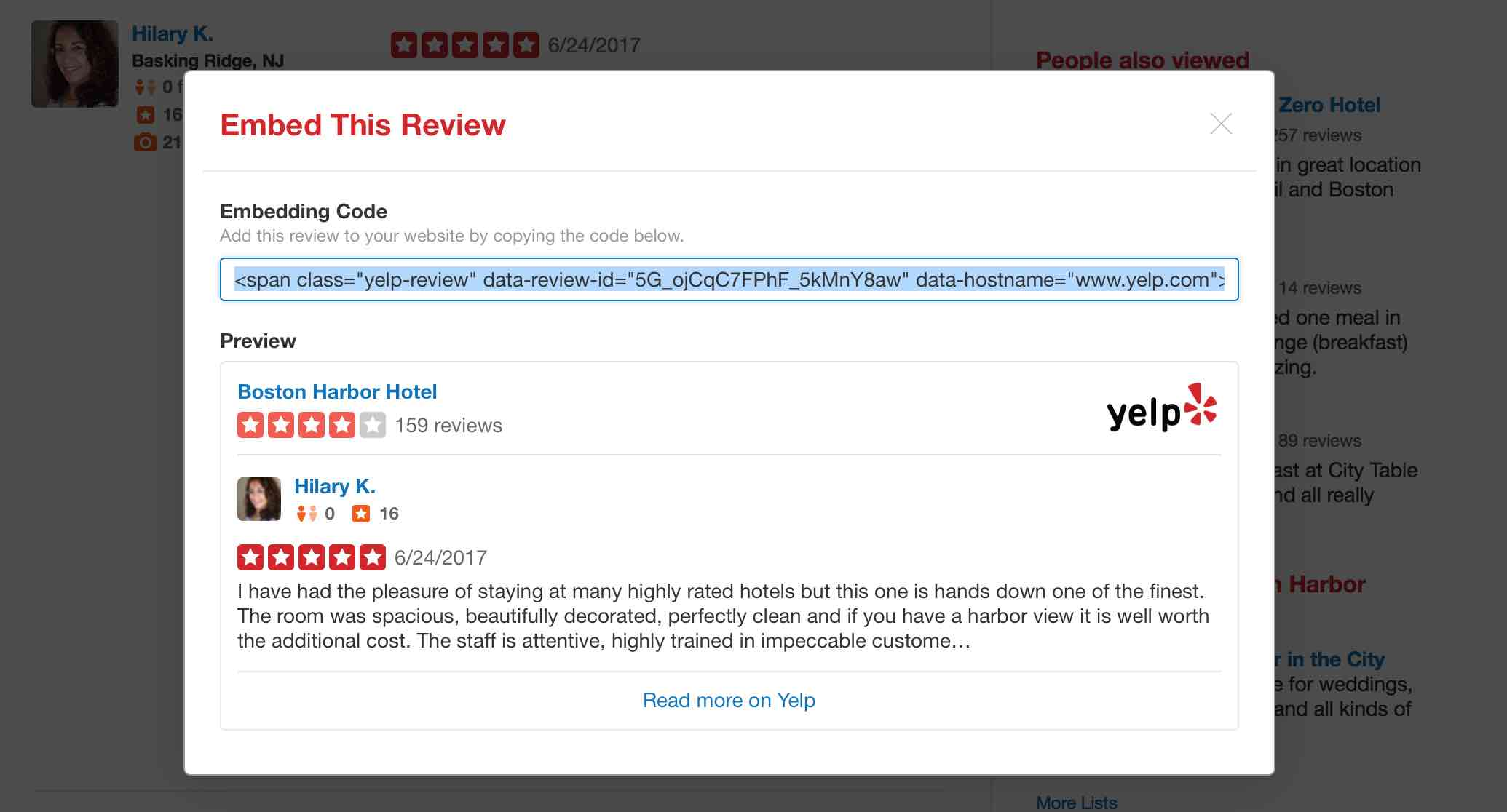 Yelp Review has the embed code option open