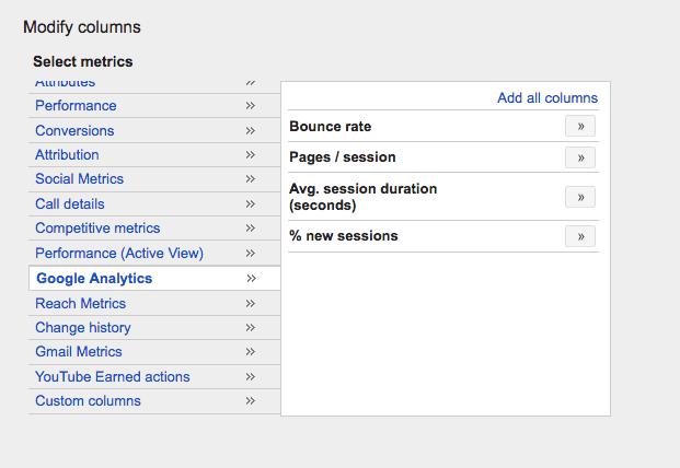 How to add Google Analytics metrics to Adwords