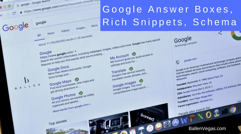 Google SERP with words that say google rich sippets, answer boxes, and schema markup