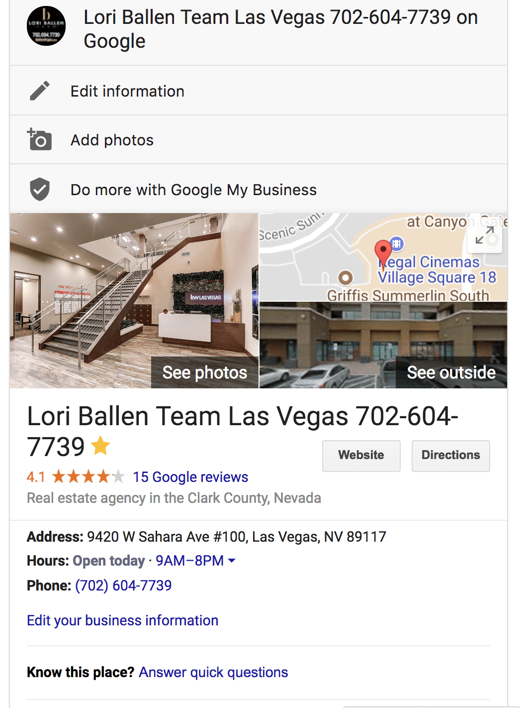 Google My Business Local Pack Profile Box on Google SERP can be edited from the page