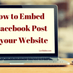 Computer screen and mouse with words that say how to embed a facebook post on your website. Domain loriballen.com and ballen logo