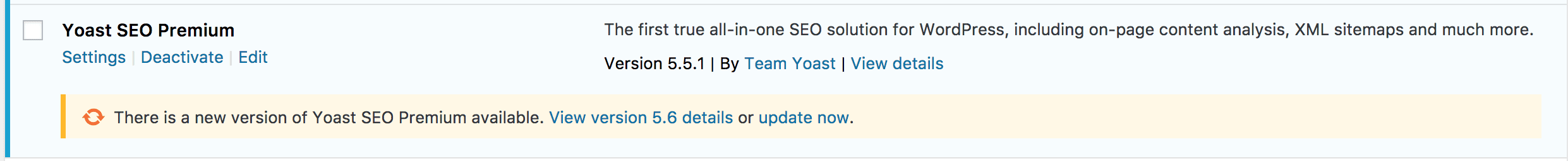 Shows Yoast SEO in the plugin panel needs an update