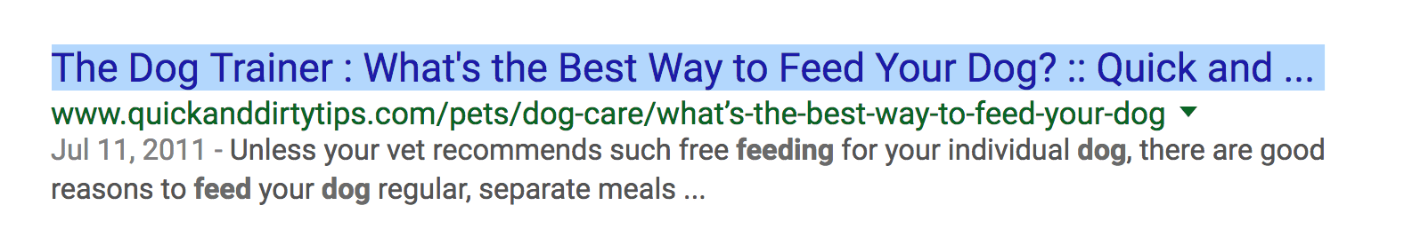A title tag is showing incorrectly on Google's Search Engine Results Page because it's too long. The title is cut off and .... shows at end of title. This is not an optimized title tag.