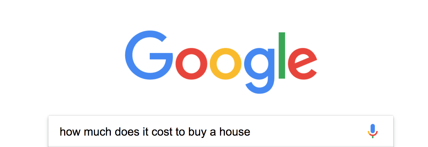 Google Search window is showing with the search query how much does it cost to buy a house typed in
