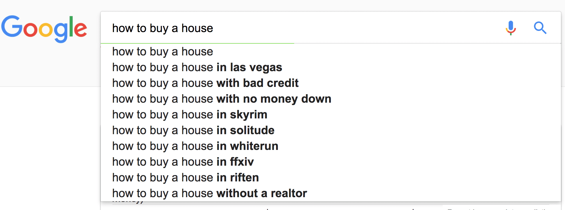 Google Search Query shows suggested phrases around the query how to buy a house