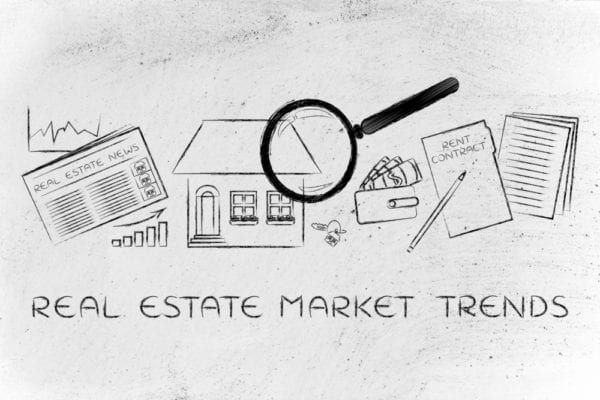 pictures of things related to real estate market such as house, report, newspaper, and the words say real estate market trends
