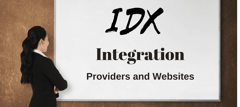 Woman is looking at a large screen that reads IDX Integration Providers and Websites