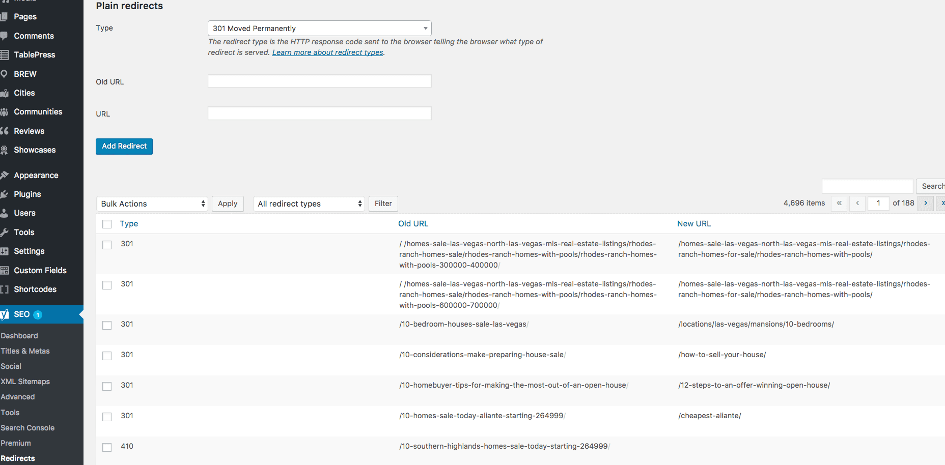 Screenshot showing Yoast SEO's WordPress Plugin Page for Redirects. Displaying a form for redirecty Type, Old URL, and URL, along with a list of existing redirects.