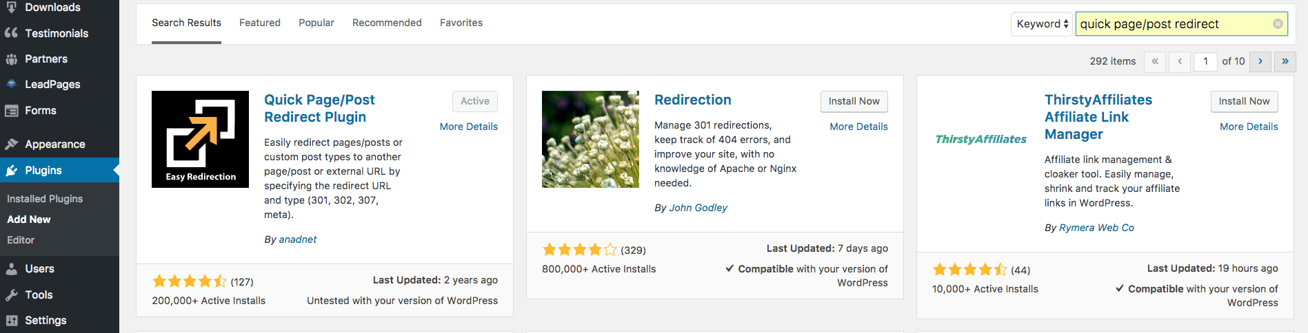 WordPress Add New Plugin Page. Quick Page/Post Redirect is typed into the search bar with the Quick Page/Post Redirect Plugin showing as the first search result, along with other similar plugins.