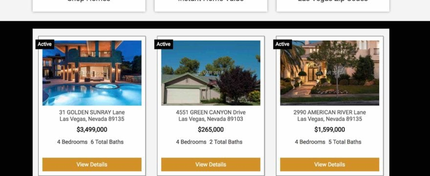 Home page of a BREW (Ballen Real Estate Website) with featured showcase listings
