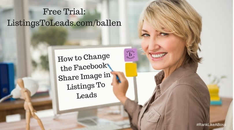 Woman is smiling and pointing at her computer that reads how to change the facebook share image in listings to leads