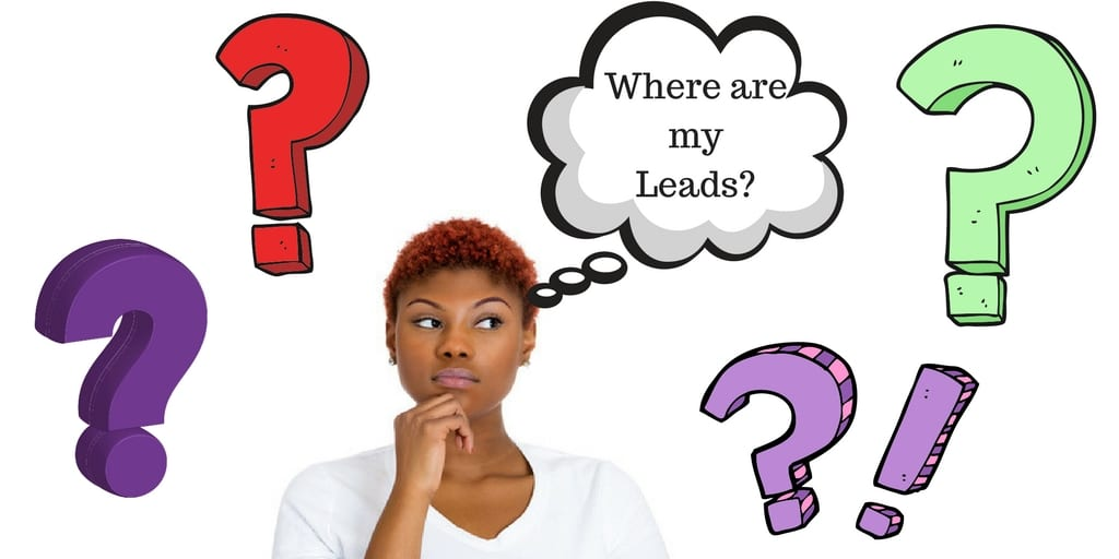 Where are my Leads from Facebook Lead ads? a woman is looking curious and the words are in a speech bubble surrounded by question marks