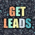 Get Leads is in various colors against a background of technology bricks