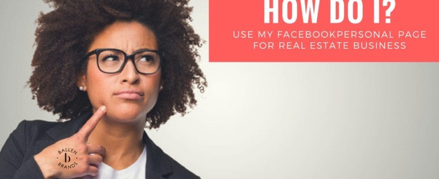 """Young pretty woman in a suit jacket, tshirt, with glasses looks confused and is looking up at a sign that reads """"how do i use my facebook personal page for business"""""""