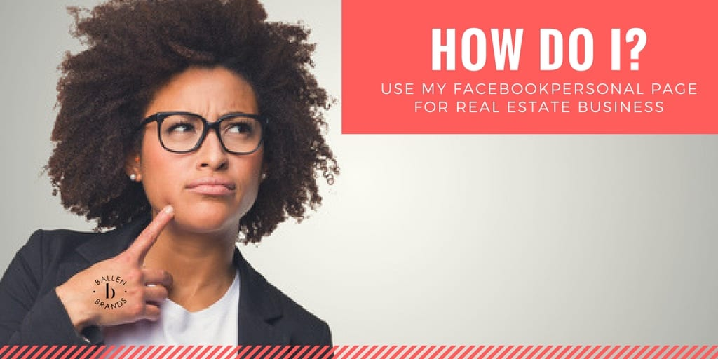 "Young pretty woman in a suit jacket, tshirt, with glasses looks confused and is looking up at a sign that reads ""how do i use my facebook personal page for business"""