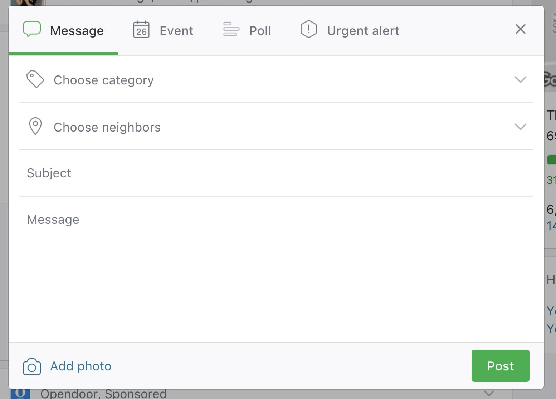 Sample of what a new post looks like on Nextdoor