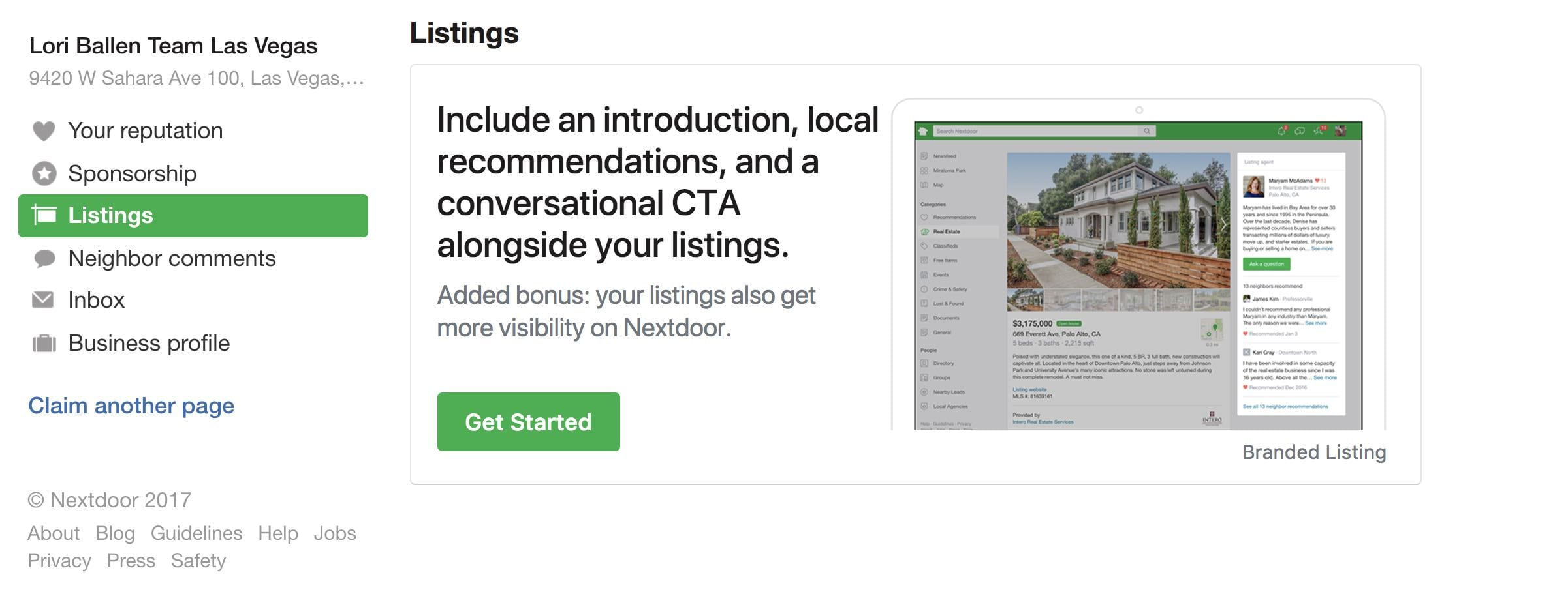 Promo Box for marketing a real estate listing on nextdoor