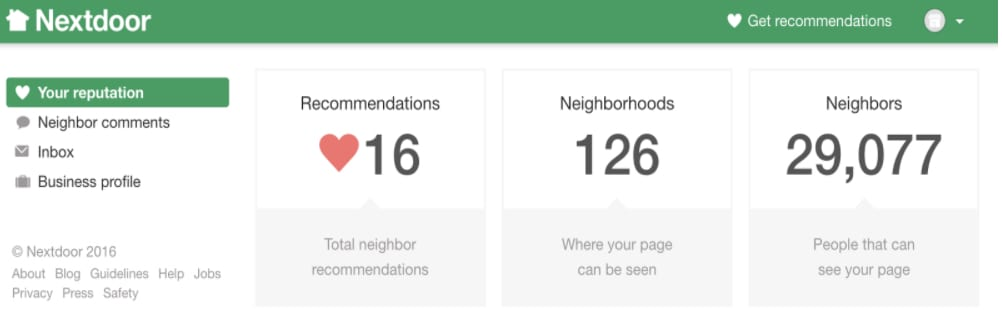 Sample of a business page scoreboard dashboard on Next door with 16 recommendations, 126 neighborhoods