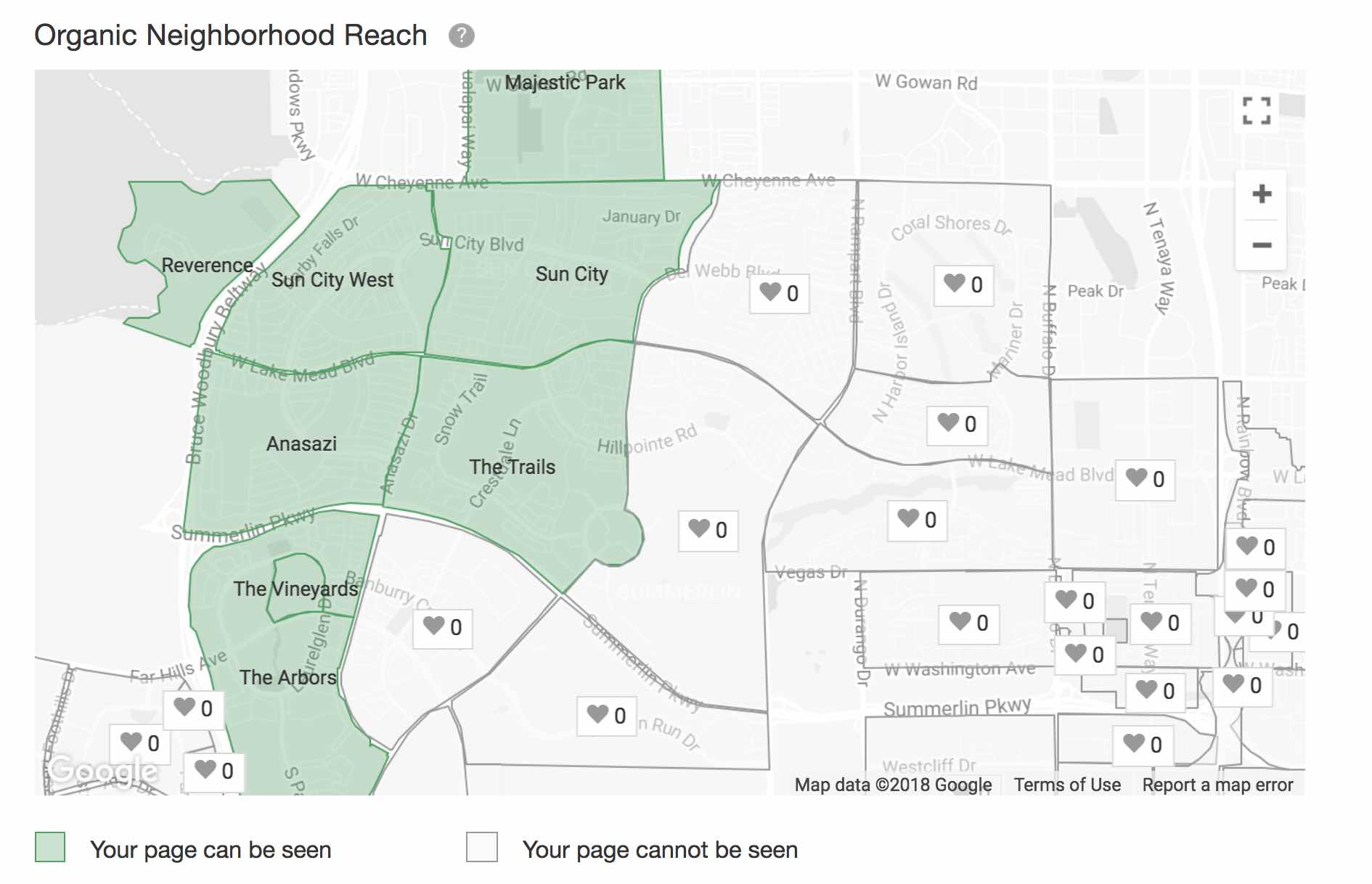 Sample of the Nextdoor Map showing organic reach for a business page