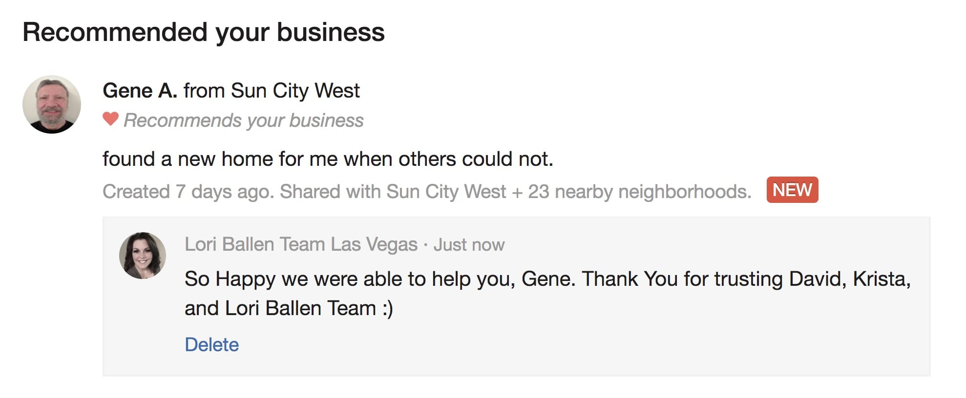 Actual example of a nextdoor recommendation where Gene from Sun City West recommends Lori Ballen Team in Las Vegas