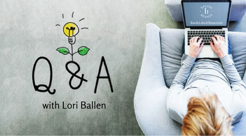 "Woman is on her computer and the screen has RankLikeABoss.com and the Ballen Logo. The words Q & A with Lori Ballen are a banner near the woman. There's a lightbulb and leaves created like a plant to indicate ""ideas"""