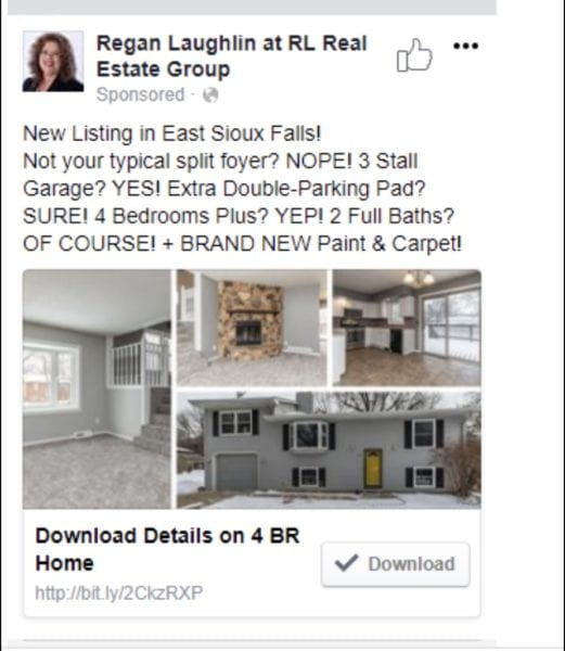 Sample of a Real Estate Facebook Ad That Really Works, based on a new listing, grid of pictures, call to action is download