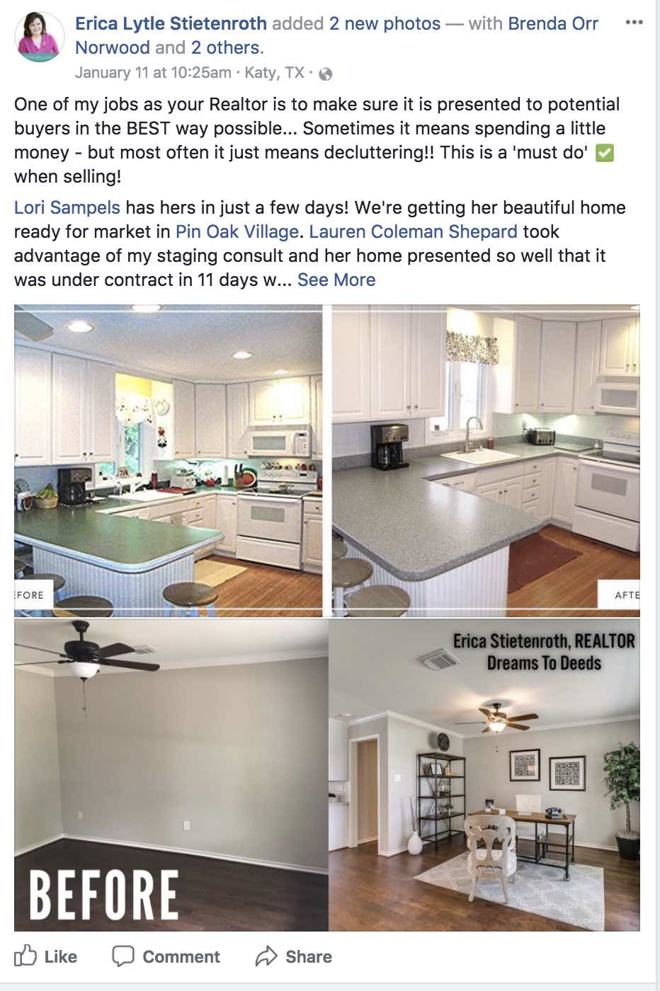 Before and after pics are showing from a real estate agent post on Facebook using the example to show how she prepares a home to sell