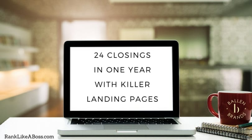 computer is on a table in front an office and the letters spell out 24 closings in one year with killer landing pages