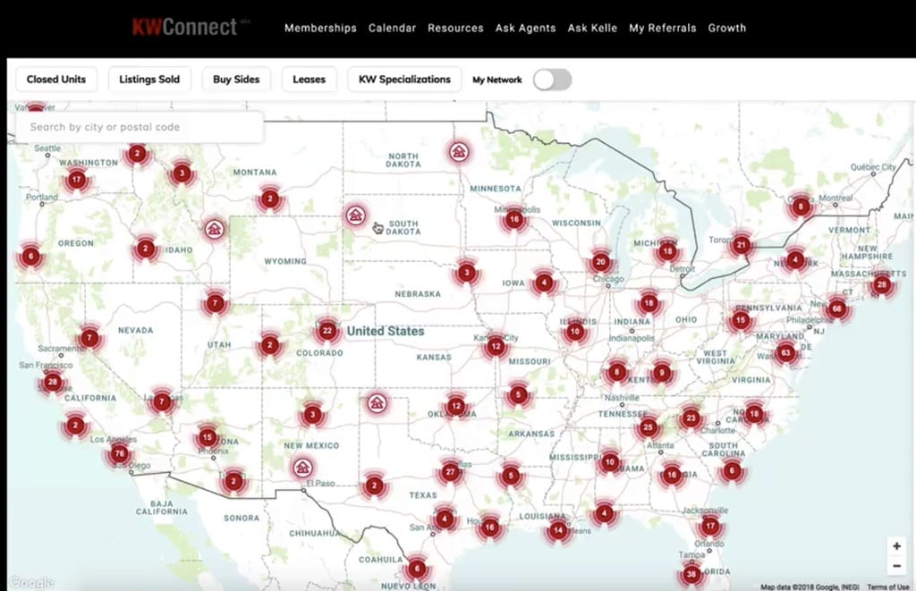 Map of areas represented by Keller Williams Agents in the KW Referrals Network