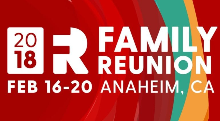 Graphic used for the Keller williams Family Reunion, Red with white letters feb 16-20 anaheim, ca 2018