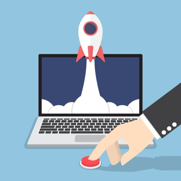 computer screen cartoon has a rocket flying out of it while a man is pushing the red button to launch the website rocket