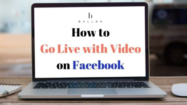 laptop computer is on a desk and the words on the screen spell out how to go live with video on facebook