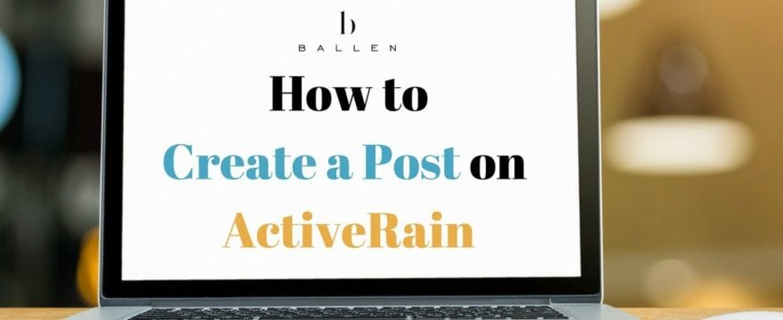 Computer says How to Create a post on Activerain