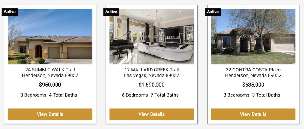 3 Homes in a row on a real estate agent website created through the IDX provider