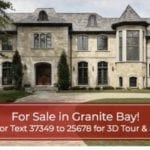 Large fancy house shows banner that says for sale in granite bay which is provided through the listings to leads software