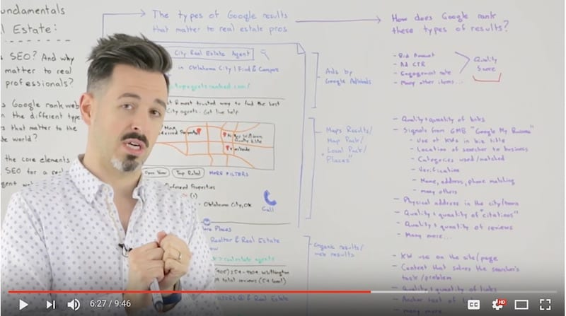 Rand Fishkin SEO wizard is standing in front of a white board with text explaining SEO for real estate professionals