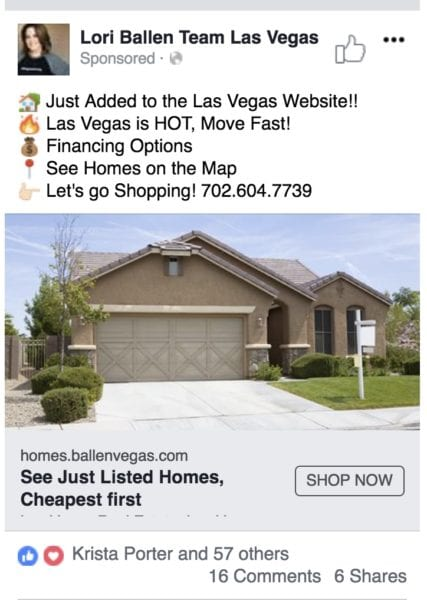Ad on FB with emojis, calls to action, picture of a house and offer to see alll homes listed in the past 24 hours