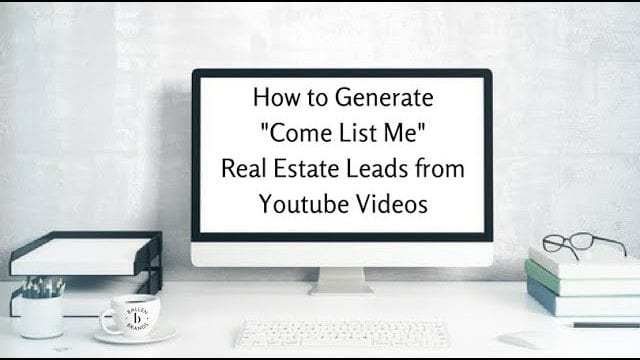 Computer is on a desk with a ballen brands coffee mug, books, glasses and the computer has letters that spell out the words how to generate come list me real estate leads from youtube videos