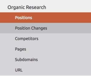 Left hand column in SEMrush showing options for Organic research which include position changes