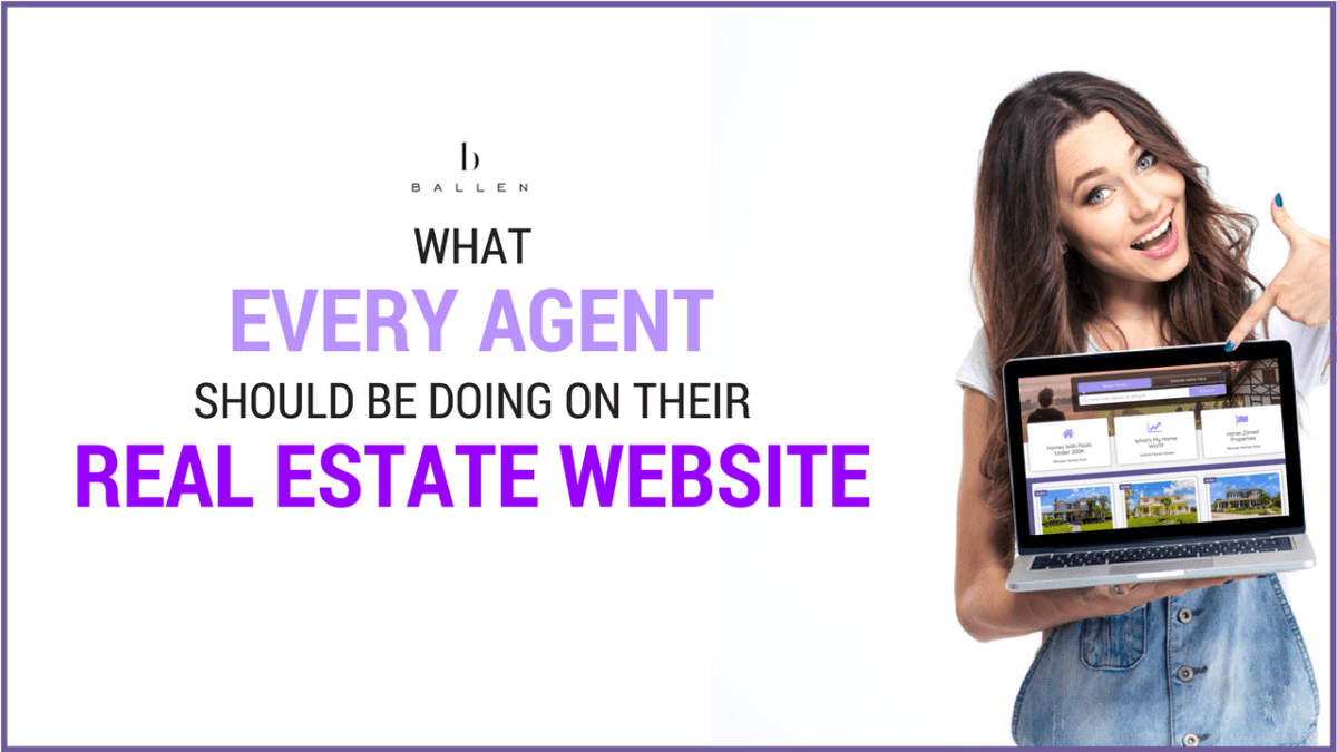 "A woman pointing at a laptop with a BREW (Ballen real estate website) on it. The Ballen Brands logo is at the top above the text, ""What every agent should be doing on their real estate website"""