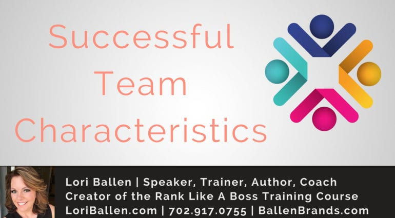 Lori Ballen's logo, address, contact information as well as a logo that looks like a team working together and words that say successful team characteristics