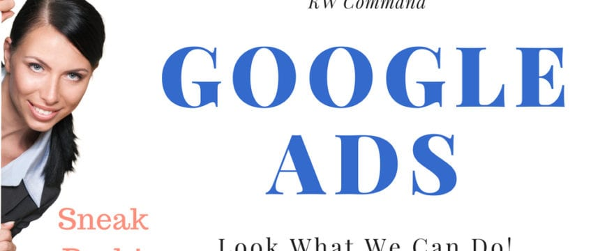 how to run google ads is on a banner with the words sneak peek and a girl peeking around the corner