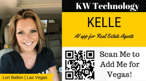 Lori Ballen Realtor has a ribbon with her name on it next the words KW technology and Kelle, AI app for real estate agents and qr code to scan for las vegas referrals
