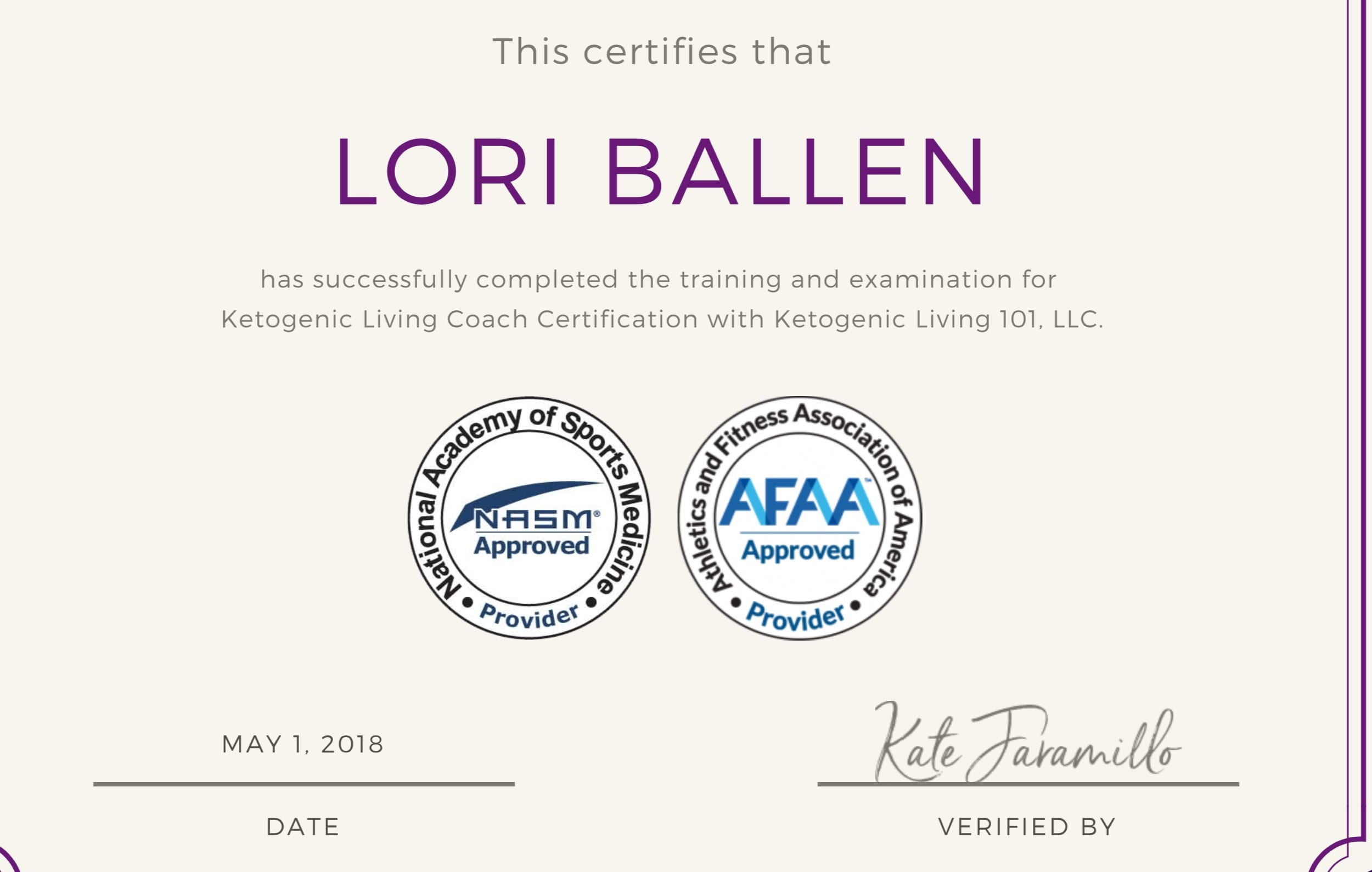 Lori Ballen Keto Coaching Certificate from Kate