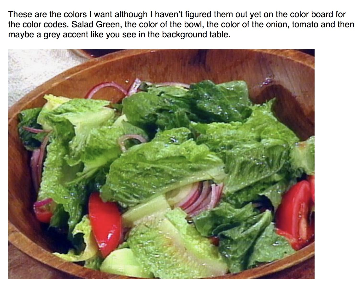 Lori Ballen, Keto Coach sample of an email with a salad and a request to build a website matching the colors in the photo