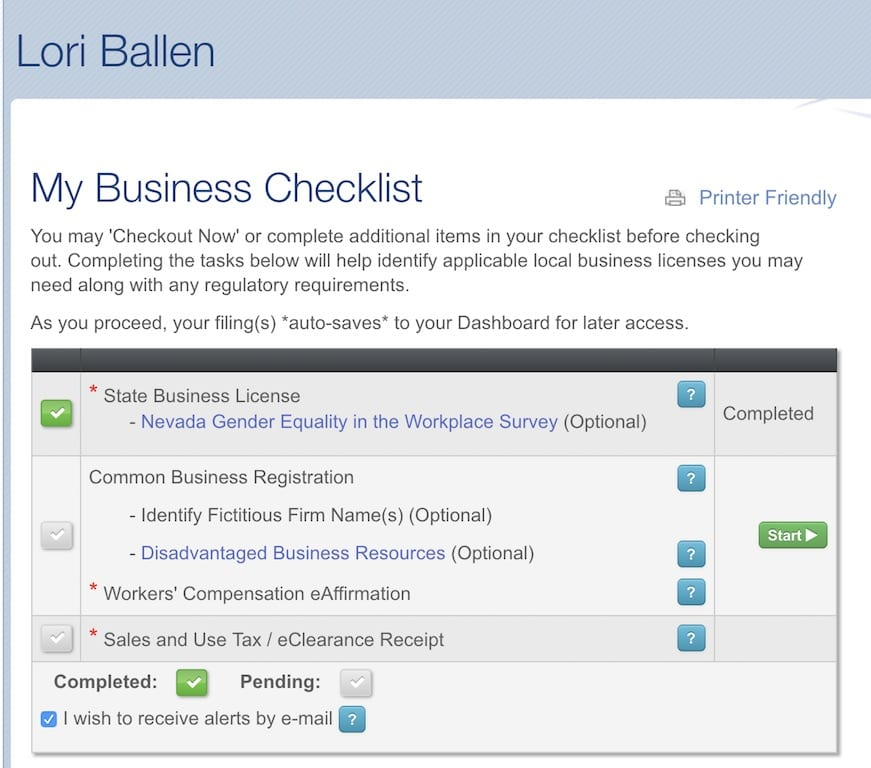 Lori Ballen Business LIcense set up
