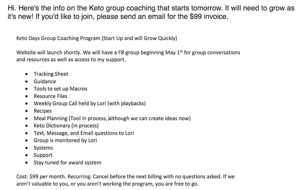 Sample of an email that lori ballen keto coach sent out the first days of the keto coaching program