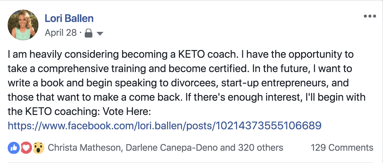 Lori Ballen's Facebook Post screenshot where she asked if anyone would be interested in hiring a keto coach