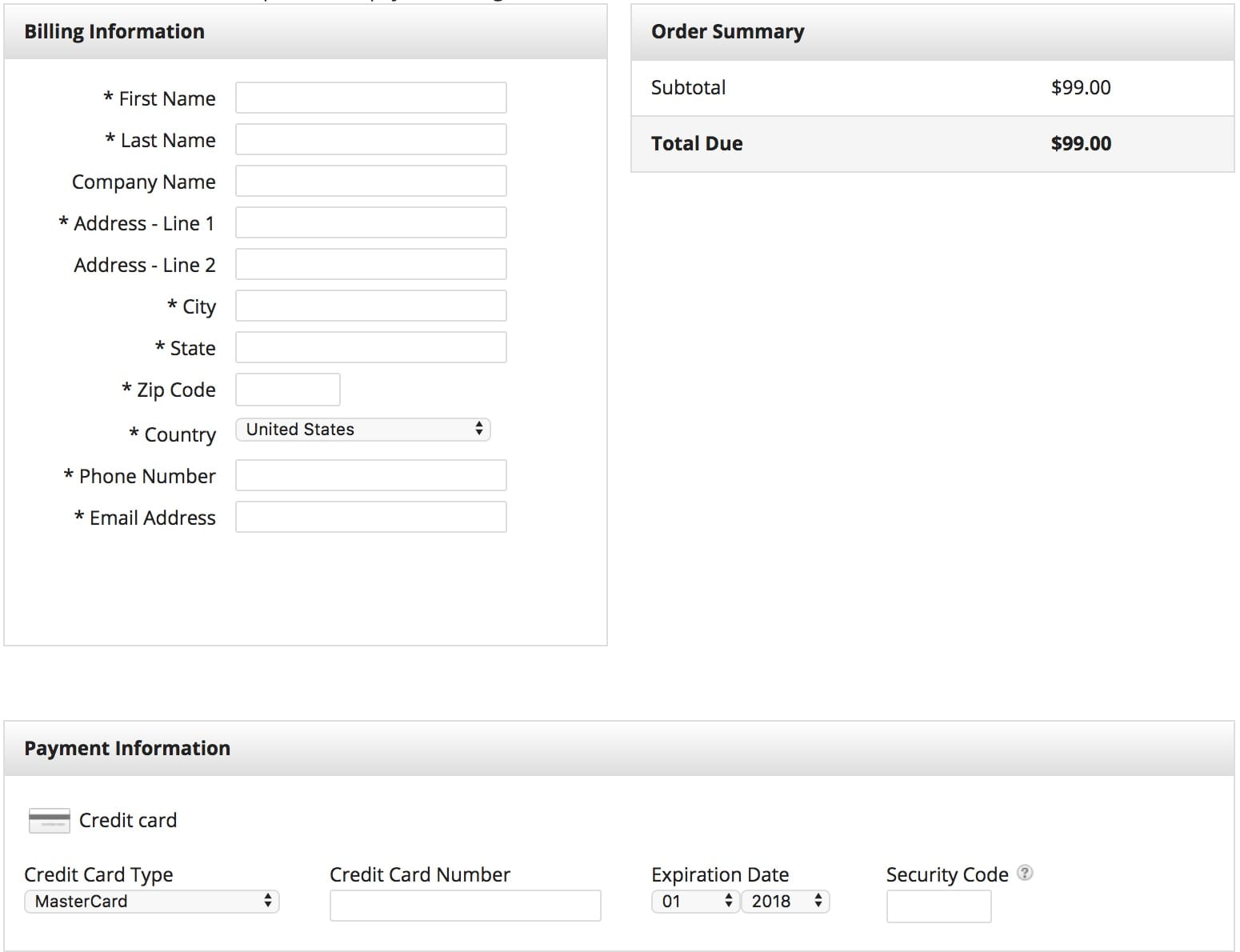 sample of an order form to make a purchase using infusionsoft